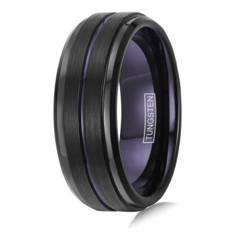 Mens Black and Purple Tungsten Wedding Ring