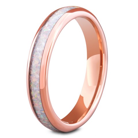 Women's Rose Gold Opal Wedding Band