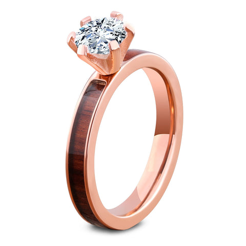 Rose Gold Diamond Forest Ring Inlaid With Natural Koa Wood