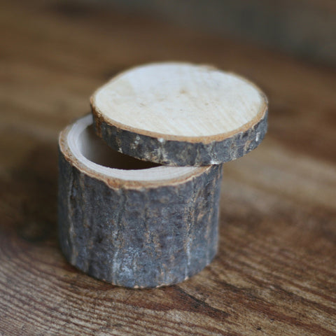 Rustic Log Wedding Ring Box