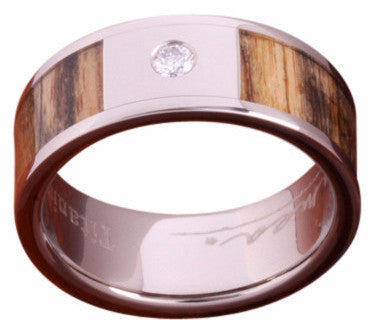 8mm Titanium Wood Ring With Real Diamond - NorthernRoyal - 1