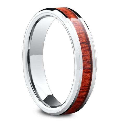 The Silver Yooper (5mm) - Silver Tungsten Wood Ring