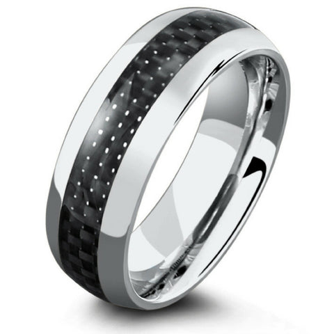 Mens Silver Titanium Wedding Band With Black Carbon Fiber Inlay