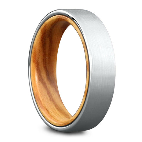 Mens Silver Tungsten Ring With Wood Interior - Mens Wood Ring
