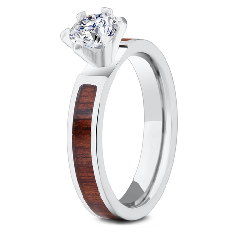 Women's Solitaire Diamond Wood Ring