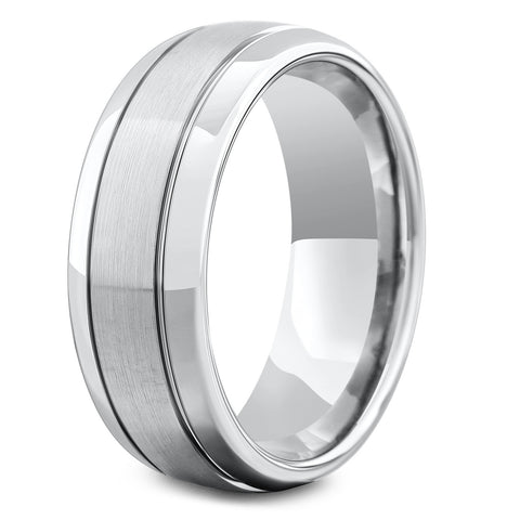 The Gatsby - Mens Silver Tungsten Wedding Ring