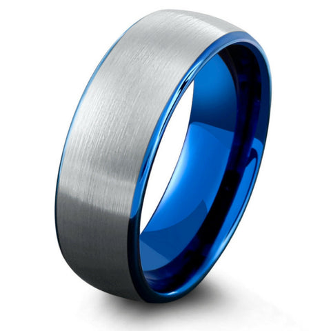 8mm Brushed Tungsten Carbide Wedding Ring With Blue Interior