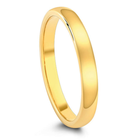 Classic Polished Yellow Gold Tungsten Wedding Band