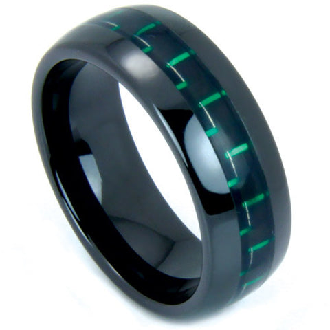 black ceramic wedding band with a green and black carbon fiber inlay northernroyal 1