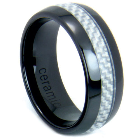 Men's Black Ceramic Ring With a Light Grey Carbon Fiber Inlay - NorthernRoyal - 1