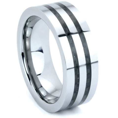 Tungsten Carbide Ring With a Polished Finish and a Double Carbon Fiber Inlay - NorthernRoyal - 1