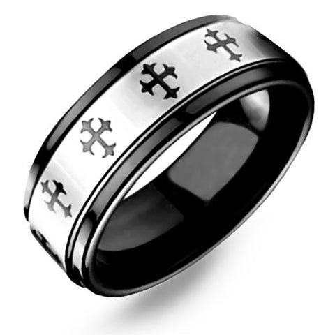 Two Tone Black Celtic Cross Ring Crafted out of Pure Tungsten Carbide - NorthernRoyal - 1