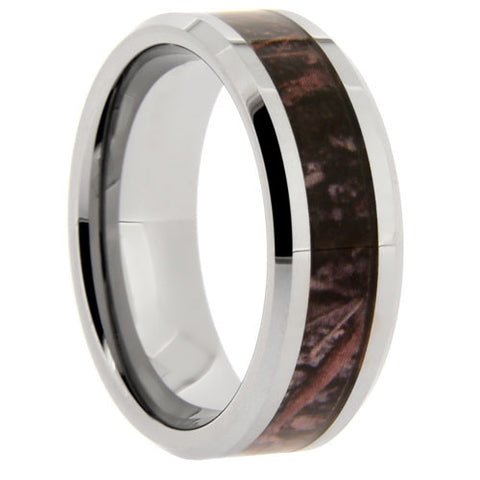 8mm Camouflage Tungsten Carbide With Beveled Edges - NorthernRoyal - 1