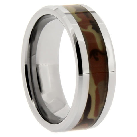 Men's 8mm Tungsten Carbide Wedding Band - Camo Tungsten Ring - NorthernRoyal - 1