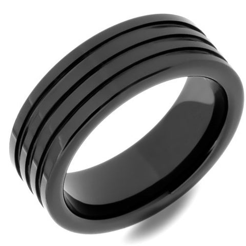 Four Grooved Black Ceramic Mens Wedding Ring - Made With High-Tech Ceramic - NorthernRoyal - 1