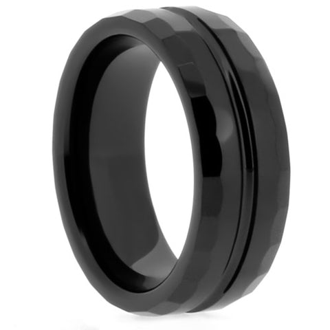 8mm Black ceramic ring with carved edges and Center Channel - NorthernRoyal - 1
