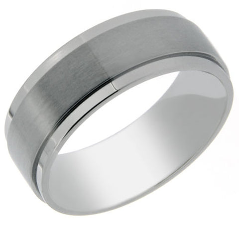 8mm Titanium Ring With Polished Outer Edges and a Matte Center - NorthernRoyal - 1