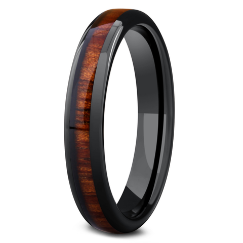 Women's Wood Wedding Band - 4mm Width Black Ceramic Wood Wedding Ring