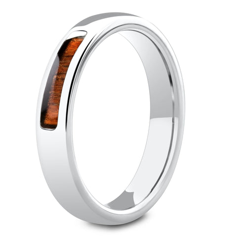 Women's Silver Wooden Wedding Band