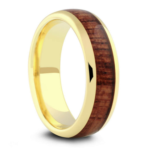 Mens Yellow Gold Wood Wedding Ring