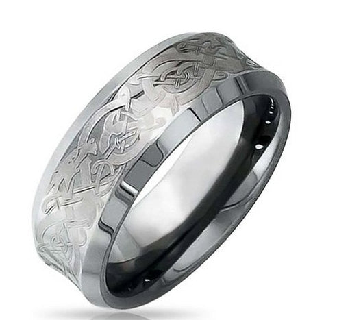 Mens 8mm Celtic Tungsten Carbide Wedding Band NorthernRoyal