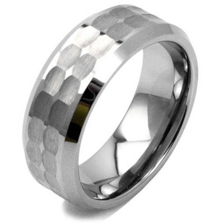 8mm Tungsten Hammered Wedding Ring with Nicely Polished Edges - NorthernRoyal - 1