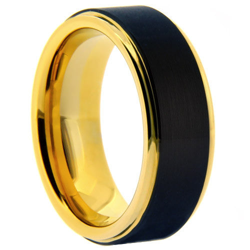 Mens 8mm Tungsten Carbide Ring With Black Matte Finish Yellow