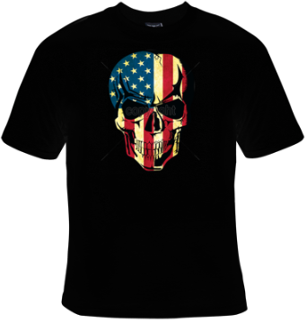 American Flag Skull T-Shirt Women's - Life Rush Apparel