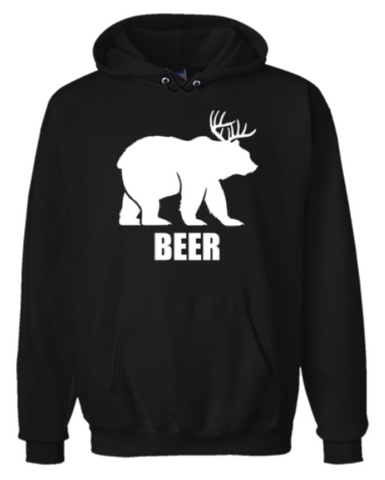 Beer Bear And Deer Animal Hoodie Sweatshirt Black - Men's / Women's - Life Rush Apparel