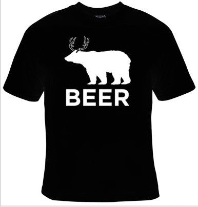 BEER Bear and Deer Drinking T-Shirt Men's - Life Rush Apparel