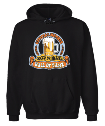 Official Member Beer Drinkers Hall Of Fame Hoodie Sweatshirt Black - Men's / Women's - Life Rush Apparel