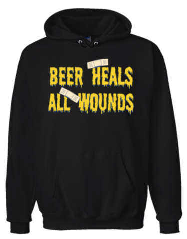 Beer Heals All Wounds Hoodie Sweatshirt Black - Men's / Women's - Life Rush Apparel