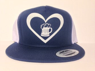 Beer Heart Hat Blue & White Snapback - Life Rush Apparel