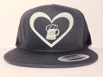 Beer Heart Hat Charcoal Grey Snapback - Life Rush Apparel