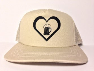 Beer Heart Hat Cream Snapback - Life Rush Apparel