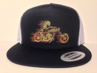 Fire Motorcycle Rider Hat Black & White Snapback - Life Rush Apparel