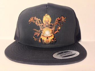 Skeleton Biker Motorcycle Hat Charcoal Grey Snapback - Life Rush Apparel