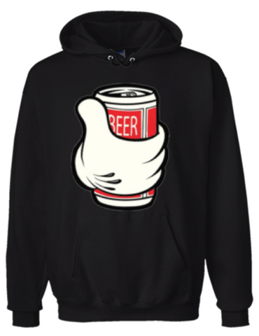Cartoon Hand With Beer Hoodie Sweatshirt Black - Men's / Women's - Life Rush Apparel