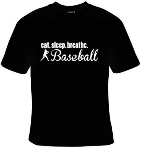 Eat Sleep Breathe Baseball White Text T-Shirt Women's - Life Rush Apparel