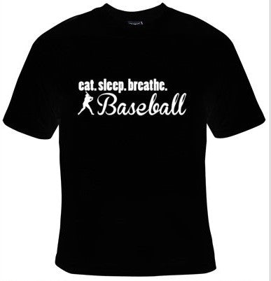 Eat Sleep Breathe Baseball White Text T-Shirt Men's - Life Rush Apparel