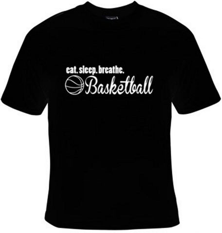 Eat Sleep Breathe Basketball White Text T-Shirt Women's - Life Rush Apparel