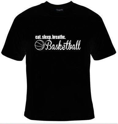 Eat Sleep Breathe Basketball White Text T-Shirt Men's - Life Rush Apparel