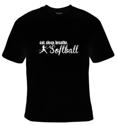 Eat Sleep Breathe Softball White Text T-Shirt Women's - Life Rush Apparel