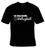 Eat Sleep Breathe Volleyball White Text T-Shirt Men's - Life Rush Apparel