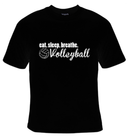 Eat Sleep Breathe Volleyball White Text T-Shirt Women's - Life Rush Apparel