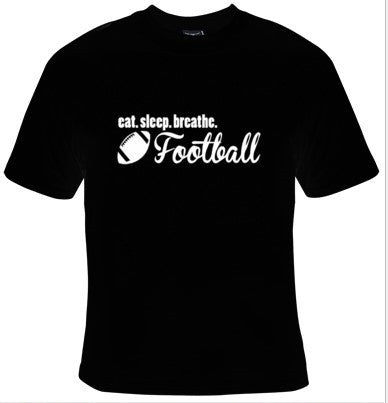 Eat Sleep Breathe Football White Text T-Shirt Men's - Life Rush Apparel
