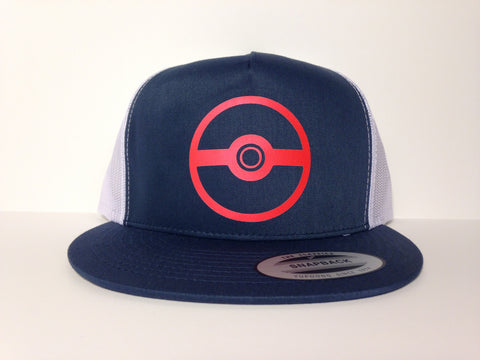 Pokemon Poke Ball Hat Blue Snapback - Life Rush Apparel