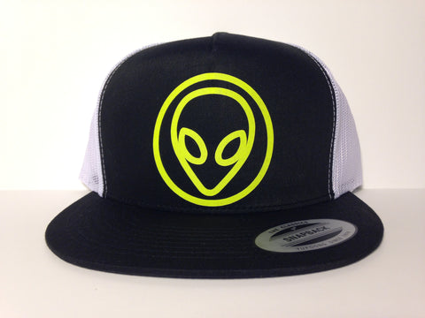 Alien Face Hat Black & White Snapback - Life Rush Apparel