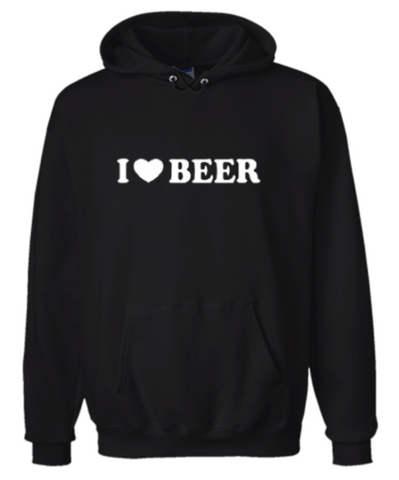 I Heart Beer (I Love Beer) Hoodie Sweatshirt Black - Men's / Women's - Life Rush Apparel