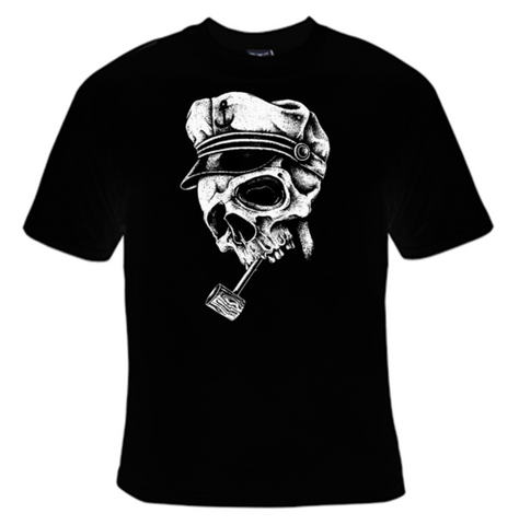 Skull With Captains Hat and Pipe T-Shirt Men's - Life Rush Apparel